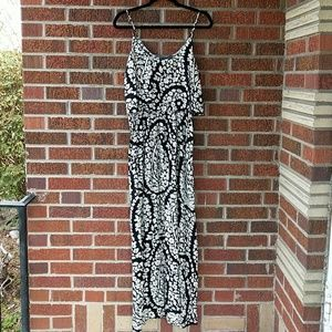 Lucky Brand Black and White Floral Maxi Dress S